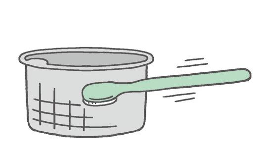 【排水口まわり】 網かごのヌメリは歯ブラシで磨いてスッキリと