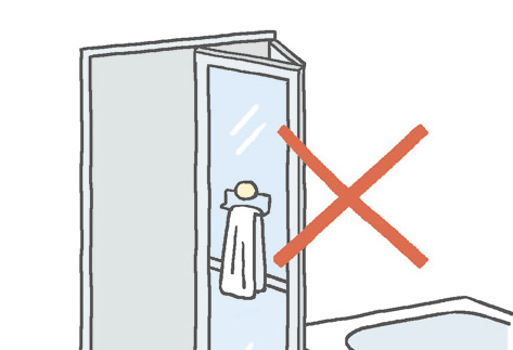 折戸に接着式のタオル掛けを取り付けないでください