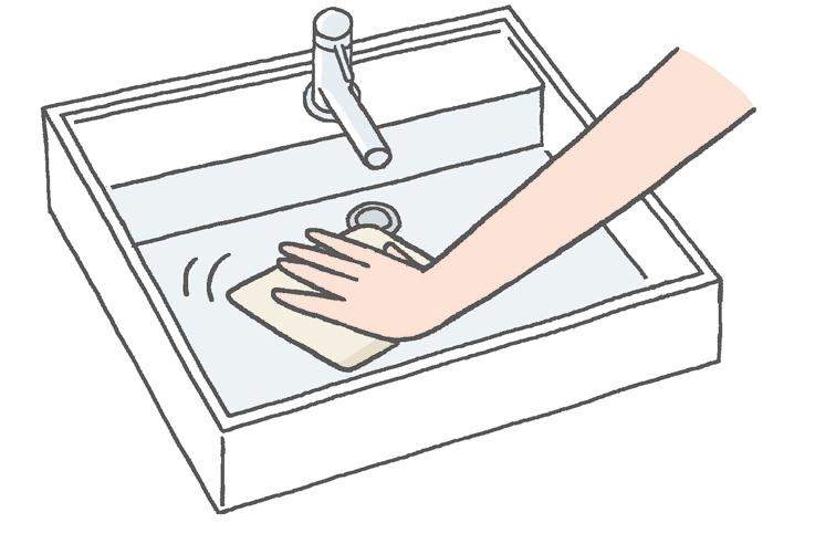 【洗面ボウル】 使い終わったら、吸水クロスなどで水気を取る習慣を