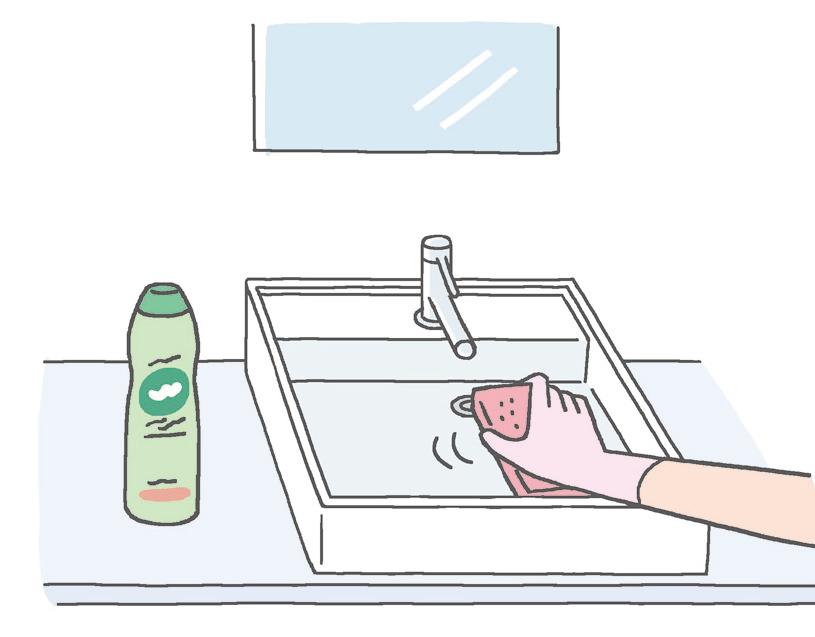 【洗面ボウル】 落ちにくい汚れにはクリームクレンザーを