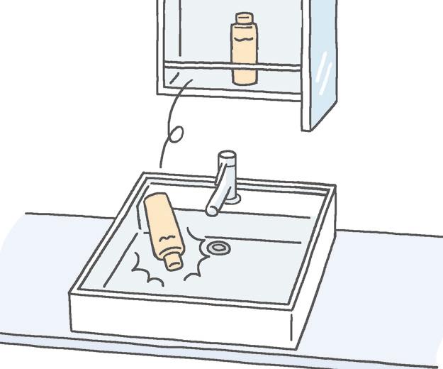 洗面ボウルに物を落とさないで!