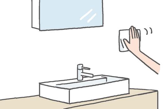 【洗面室】 壁の水はねはこまめに乾拭きを