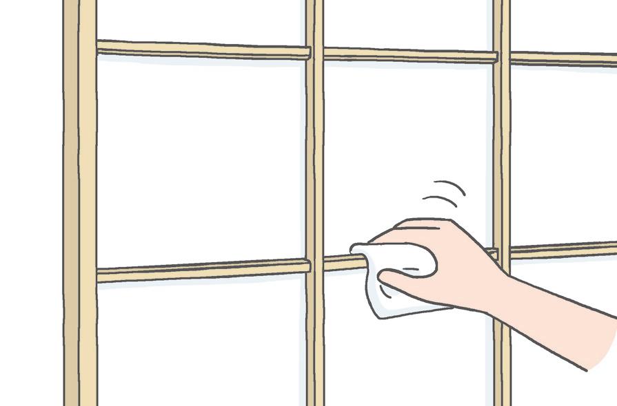 【障子】 酢水を使って、雑巾で拭くのがおすすめ