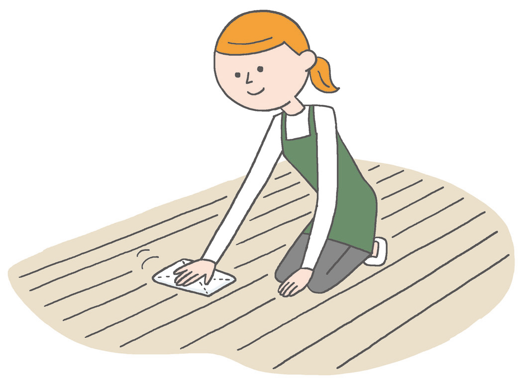 【一般的なフローリング】 住まいの洗剤を使ってしっかり拭き掃除