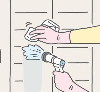外壁を雑巾でお掃除
