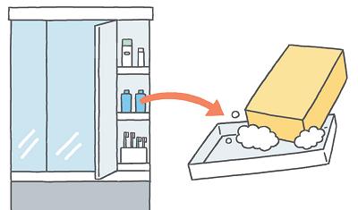 【キャビネット】 収納トレイなどをはずしてスッキリ洗浄